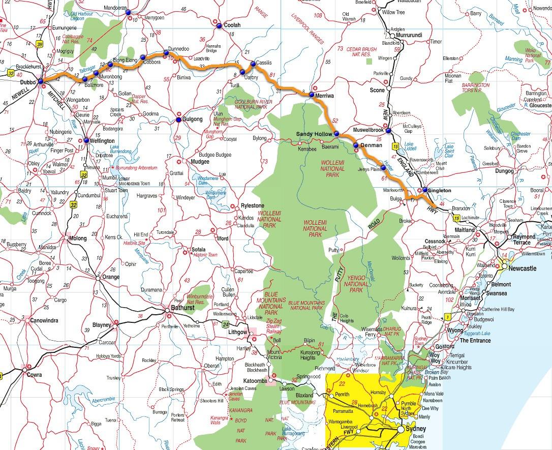 Map Sydney Kandos Mudgee Dubbo kandosprojects